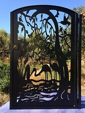 Gate Metal Art Pedestrian Walk Thru Entry Wrought Iron Steel Garden Birds Water