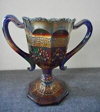 ANTIQUE FENTON COBALT BLUE CARNIVAL GLASS ORANGE TREE/PEACOCK TAIL LOVING CUP