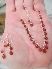 NATURAL A+ SPESSARTITE GARNET FACETED BRIOLETTES STERLING SILVER NECKLACE SET