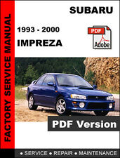 SUBARU 1993 1994 1995 1996 1997 1998 1999 2000 IMPREZA FACTORY SERVICE MANUAL