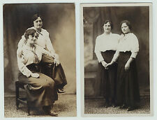 RARE Set of 2 Photos Affectionate Women -Holding Hands Arm Gay Lesbian RPPC 1910