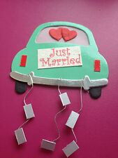 4 GLOSSY CARD JUST MARRIED WEDDING CAR CARD MAKING CRAFT EMBELLISHMENTS