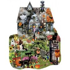 SUNSOUT SHAPED JIGSAW PUZZLE SPOOKY HOUSE LORI SCHORY 1000 PCS HAUNTED HOUSE