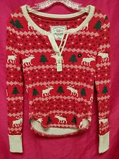 NWT Abercrombie & Fitch Womens Christmas Patterned Sleep Henley Shirt top ~ XS