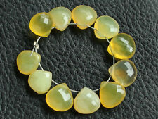 Natural Yellow Opal Faceted Heart Briolette Semi Precious Gemstone Beads 011