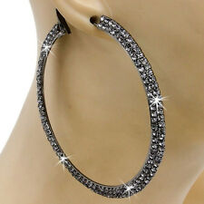 "3.2"" HUGE Micro Pave Set HEMATITE Gray Crystal Hoop Dangle Drop Ladies Earrings"