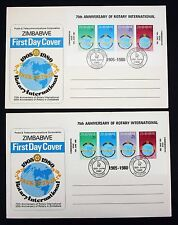 Zimbabwe FDC Rotary International 2x Ersttag Brief Simbabwe Afrika Block (4445+