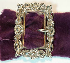 Antique Victorian Art Nouveau HM Silver Pierced Floral Pierced Belt Buckle 1898