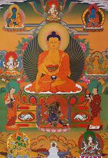 """32"""" SILK BROCADED GOLDEN WOOD SCROLL TIBETAN THANGKA: SHAKYAMUNI BUDDHA"""