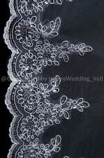 Handmade Beaded Small Wave Edge White Chapel Bridal Wedding Veil H5103-1