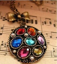 GirlZ! New Arrival Retro Colored Pearl Disc Necklace pendant with chain