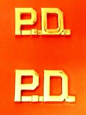 P.D. Police Department Collar Pin Set Insignia Gold Plated Cut Out Letters 4315G