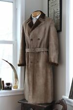 AMAZING Italian Shearling Trench Coat 48 (38) Belted Long Overcoat Sheepskin