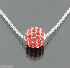 Red Crystal Ball Pendant Necklace Made W SWAROVSKI CRYSTAL Dainty Jewelry