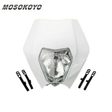 Universal White Headlight Head Lamp Light Faring All Dual Sport Motorcycles