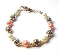 Beautiful Handcrafted Tibet Silver Pink & White Glass Pearl Bracelet F57