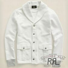 RRL Ralph Lauren Deckwash White COTTON TERRY SHAWL CARDIGAN JACKET- MEN-  XXL