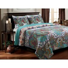 3-Piece King Quilt Set Reversible Paisley Turquoise Teal Cotton Bedding Cover
