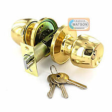 Polished Brass ENTRANCE KNOB SET Locking Key Door Handle Latch Fixings