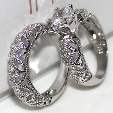 Sz 8 Lovers Ladys 925 Silver White Topaz Handmade 2-in-1 Wedding Band Ring Set