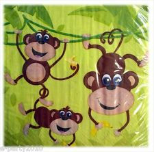 MONKEY JUNGLE LUNCH NAPKINS (20) ~ Birthday Party Supplies Large Serviettes Boy