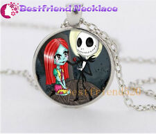 NEW Nightmare Before Christmas jack and sally rose silver glass necklace#YKL19
