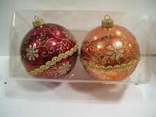 OU OSU RED & ORANGE GOLD GLITTER BALL SHATTER RES ORNAMENT CHRISTMAS DECORATIONS