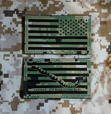 IR NWU Type III Reverse US Flag & First Navy Jack Patch Set US Navy SEABEE USN