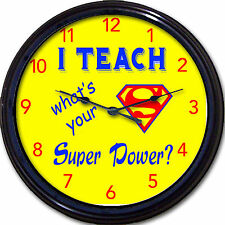 Superhero Teacher Superman I teach, what's your super power? Wall Clock New 10""