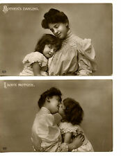 Mother's Darling-Affectionate Mom-Daughter Kiss-RPPC-Real Photo Vintage Postcard