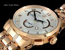 NEW S.Coifman 45MM SWISS MADE Quartz Day & Date 18k RoseGold Tone Bracelet Watch