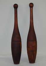 PAIR of Primitive Antique Vtg Wooden Juggling Circus Exercise Bowling Pins