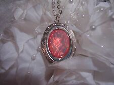 WEDDING pink opal DRAGON BREATH LOCKET Necklace PendanT ANNIVERSARY BIRTHDAY