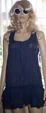 F+F Blue Checked Sleeveless  Layered Round Neck Summer Party Dress Size 12 C32
