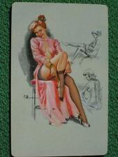K O Munson Pinup Girl Art Swap Playing Card Black Stockings Leg Show Vintage WOW