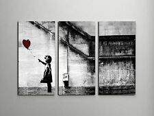 "Banksy Girl With Balloon Stretched Canvas Triptych Print 48""x30"". BONUS DECAL!"