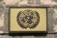 UNITED NATIONS  OD GREEN FLAG PVC PATCH WITH HOOK LOOP BACKING  3 X 2