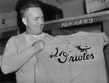 RARE !!! ROGERS HORNSBY TRIES ON NEXT YEARS ORIOLES UNIFORM CLASSIC  8X10