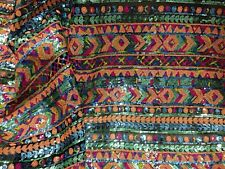 """MULTICOLOR SEQUINS STRETCH MESH EMBROIDERY LACE FABRIC 52"""" WIDE 1 YARD"""