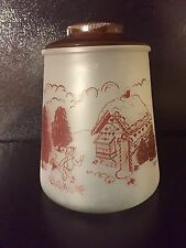 Vintage Bartlett Collins Pokee Hansel & Gretel Frosted Glass Cookie Jar Brown
