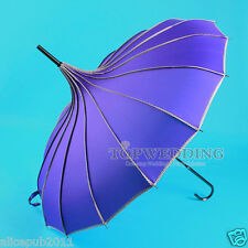Vintage Purple Waterproof Bridal Pagoda Umbrella Wedding Sun Parasol Decorations