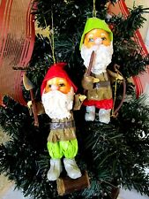 VINTAGE PAIR ELF/GNOME PAPER MACHE CHRISTMAS ORNAMENTS 5""