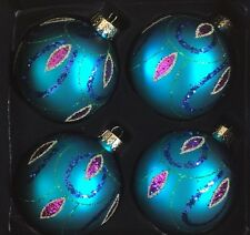Teal Green Glittery Purple Peacock Feather Glass Christmas Ornaments Set 4