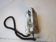 Grand wall Phone retro Pottery Barn brushed nickle stainless silver vintage RARE
