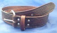 Natural Veg Tan Leather Eagle Embossed Belt Choice of Buckle & Colour Handmade