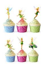 40 X TINKERBELL PRINCESS Edible Cup Cake Toppers Premium Wafer Party *STAND UP*