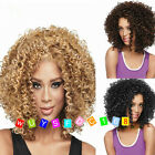 Popular lady girl brown/black/blonde mixed short curly cosplay wigs +wig cap