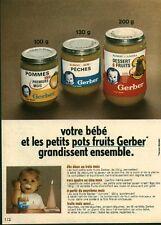 """Publicité Ancienne """" Bébé Petits Pots Fruits GERBER 1971 (  P. 31 )"""