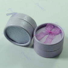 6 Pcs Small Round Jewellery Gift Package Ring Hard Boxes Case Purple