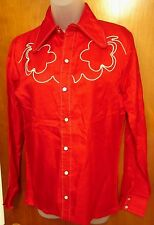 CEDAR KNOLLS small western shirt 1970s vtg cowboy gear rodeo embroidery sharp